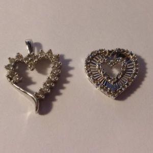 Jewelry - Two 10K White Gold Diamond Accent Heart Pendants
